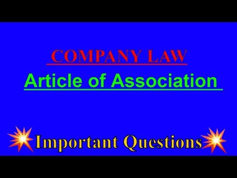 Article of Association | Company law | B.COM 2nd YEAR  SOL & REGULAR | Important Questions |