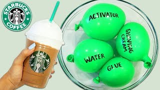 Making Starbucks Frappuccino Slime with Balloons! Realistic Coffee & Whip Cream Slime!