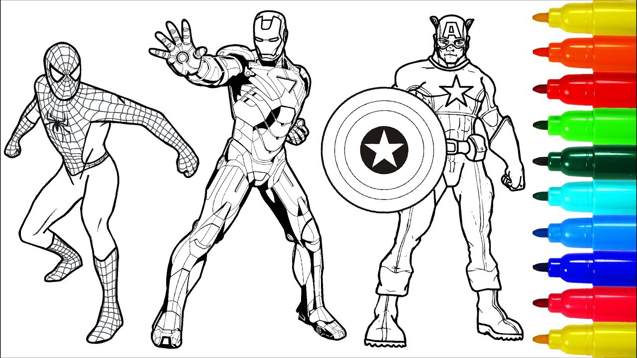 Spiderman Wolverine Iron Man Coloring Book  Colouring Pages for Kids with  Colored Markers