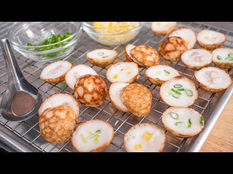 Thai Coconut Pancake Recipe - Kanom Krok ขนมครก | Thai Recipes