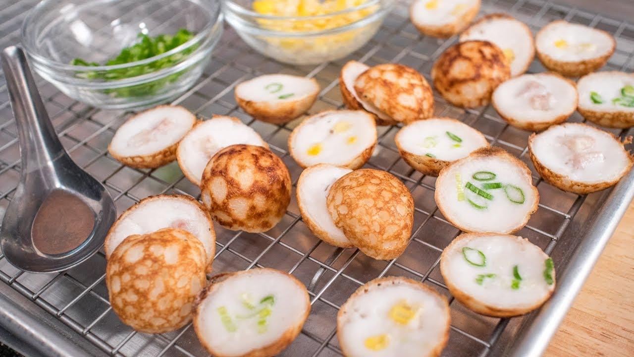 Thai Coconut Pancake Recipe Kanom Krok ขนมครก Thai Recipes Youtube