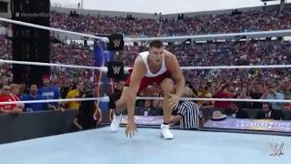 Rob Gronkowski WWE Wrestlemania 33 Moment, helps Mojo Rawley to win Battle Royal in Wrestling
