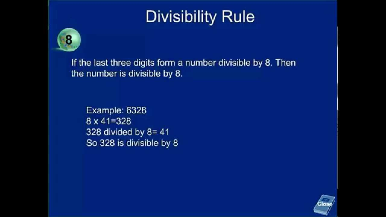 Divisibility rule of 8 if a number is divisible by 8 - YouTube