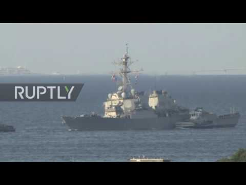 Japan: USS Fitzgerald limps into port after collision with container ship
