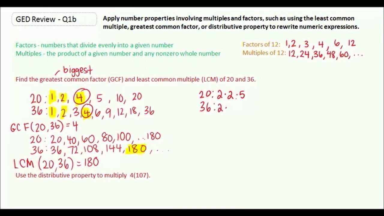 worksheet Gcf And Lcm ged study guide math greatest common factor gcf and least multiple lcm