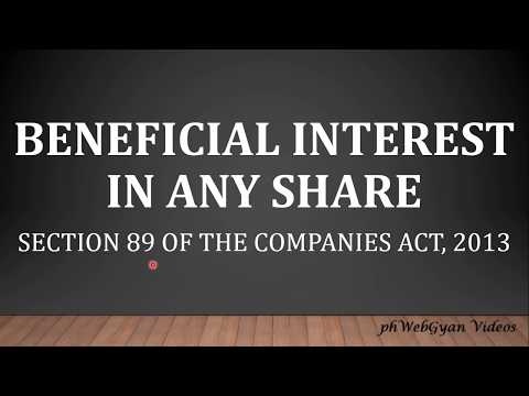 Beneficial Interest -Section 89 of Companies Act,2013- By CS HARSHITA KANT