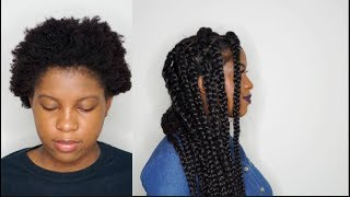 JUMBO BOX BRAIDS RUBBER BAND METHOD ON SHORT 4C HAIR |BeautyWithPrincess