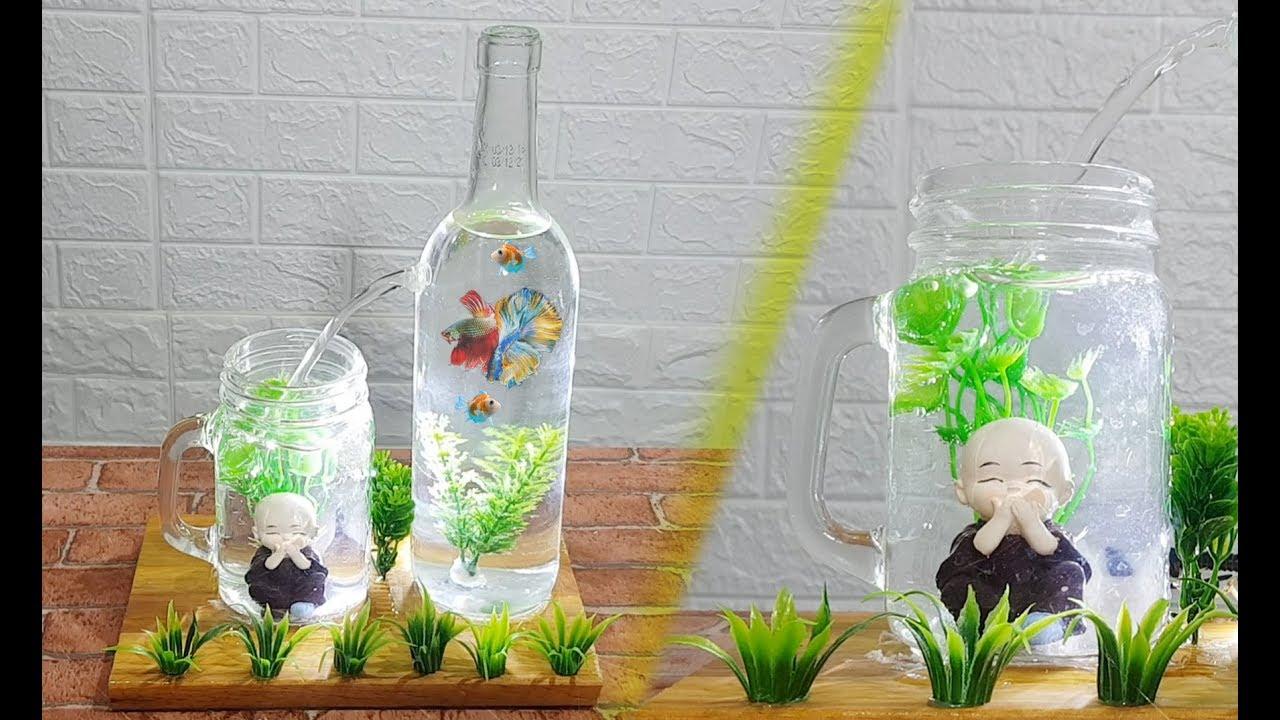 Cách làm bể cá mini làm từ chai thủy tinh