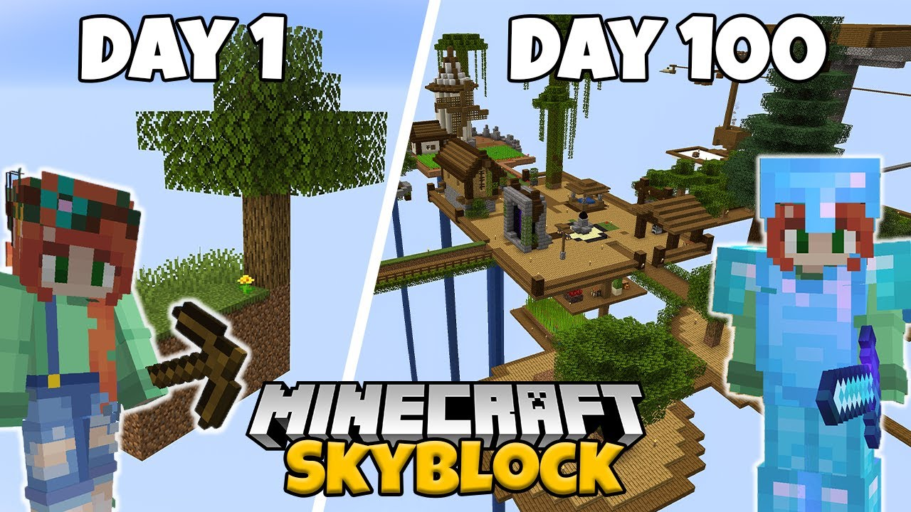 Download I Spent 100 Days in Minecraft Skyblock...