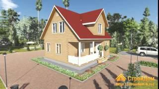 Проект одноэтажного дома из бруса 8х9(Страница проекта: http://www.stroydom-k.ru/proekty/brus-projects/322-db-25-dom-iz-brusa-8kh9-s-mansardoj.html., 2015-11-25T12:19:35.000Z)