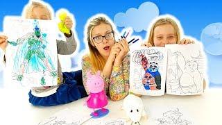 3 Marker Challenge Con Peppa Pig E I Super Pigiamini - Sfida Dei Colori Per Bambini