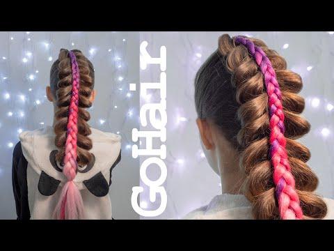 Коса с канекалоном на косе на резинках // Stacked Braid With Kanekalon On Braid With Ribbons