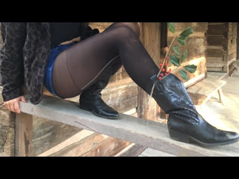 Abby at Botanical Gardens in Black Tights/Pantyhose