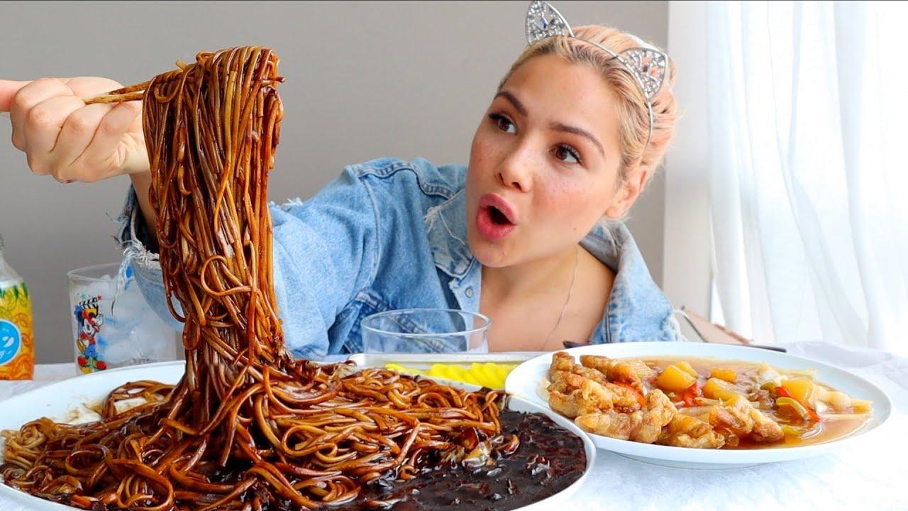 black-bean-noodle-짜장면-crispy-pork-tangsuyuk-탕수육-mukbang