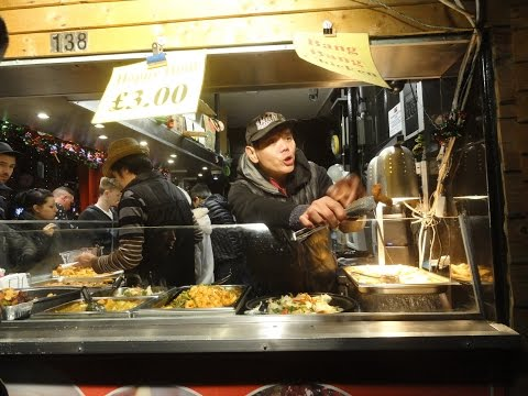 The famous Bang, Bang Chicken Man at Chinese Street Food shop in Camden Lock Village Market, London.