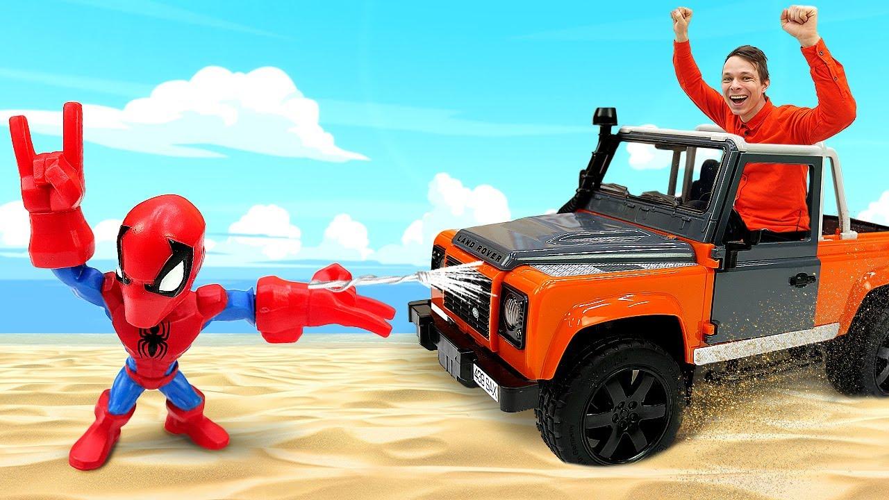 Человек Паук и Фёдор ловят Злодеев! – Супергерои в видео шоу. Игры гонки Машинок для мальчиков