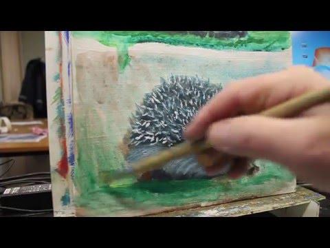 Рисуем ёжиков разными живописными методами