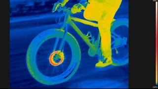 Bicycle brakes filmed with thermal camera