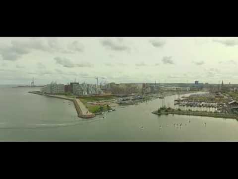 Aarhus Ø, Denmark. Drone 4K footage.