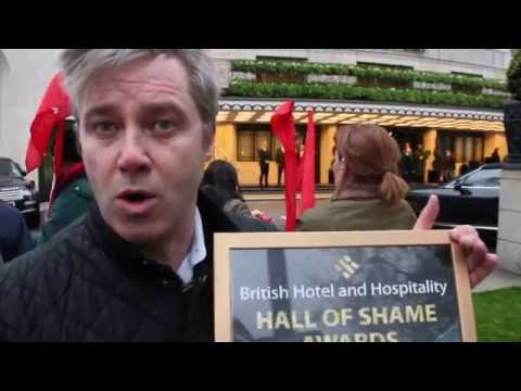 Unite the Union protest at the Dorchester Hotel, London 25th April 2016