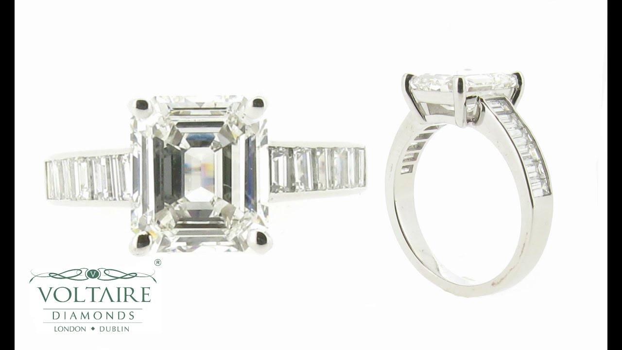 Emerald Cut Solitaire with Channel Set Baguettes ER 1514