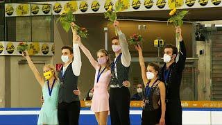 Церемония награждения Пары Линц Гран при по фигурному катанию среди юниоров 2021 22