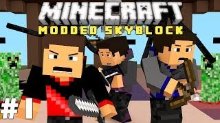 Minecraft: Modded Skyblock Ep. 1 - Questing Begins! (Agrarian Skies)