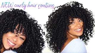 NEW Curly Hair Routine! Defined + Volume (with curly bangs) | jasmeannnn