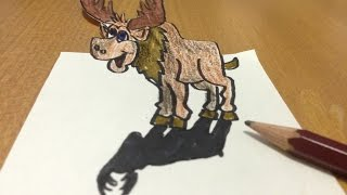 Trick Art 3D Moose Drawing, Anamorphic Illusion