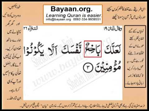 Quran in urdu Surrah 026 Ayat 003 Learn Quran translation in Urdu Easy Quran Learning