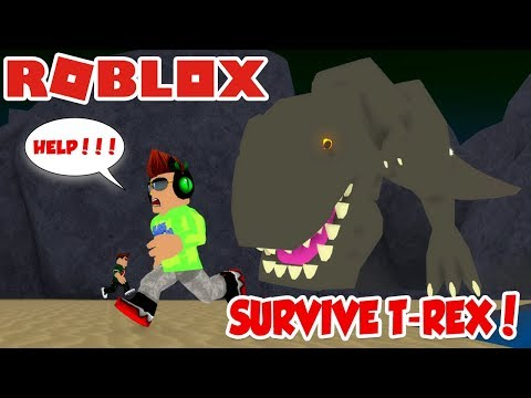 SURVIVE A VERY HUNGRY T-REX in ROBLOX DINOSAUR HUNTER