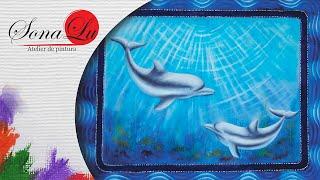 Barrado Falso com Golfinhos em Emborrachado (Parte 2) Sonalupinturas