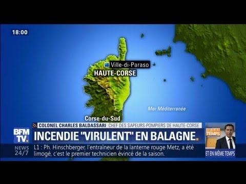 """Corse: les pompiers combattent un incendie """"très virulent"""" en Balagne"""