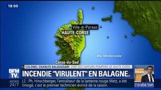 Corse: les pompiers combattent un incendie