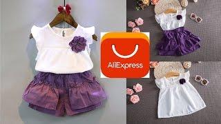 Распаковка и Обзор Детской Одежды с Aliexpress /  фиолетовый комплект для девочек