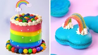 How To Make the Best Ever Rainbow Cake  Most Satisfying Colorful Cake Decorating Ideas