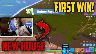 Ninja Gets His First Fortnite Win at His NEW HOUSE!