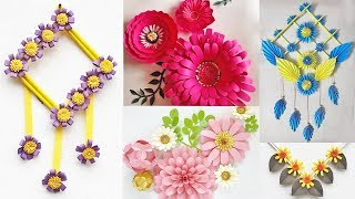 5 Diy Wall Decor Ideas With Color Papers // Paper Craft For Wall Decoration At Home