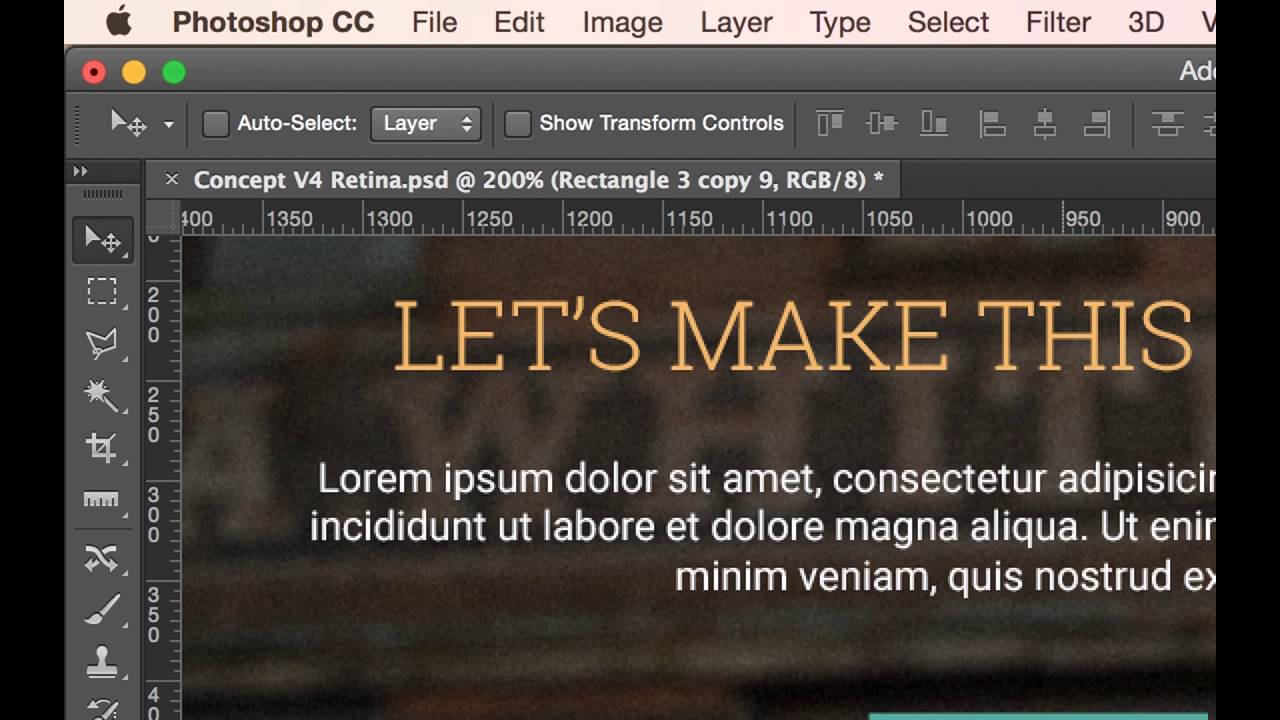 Photoshop CC 2015 Web Design Tutorial - Layer Shortcuts you need to know Part 11/48