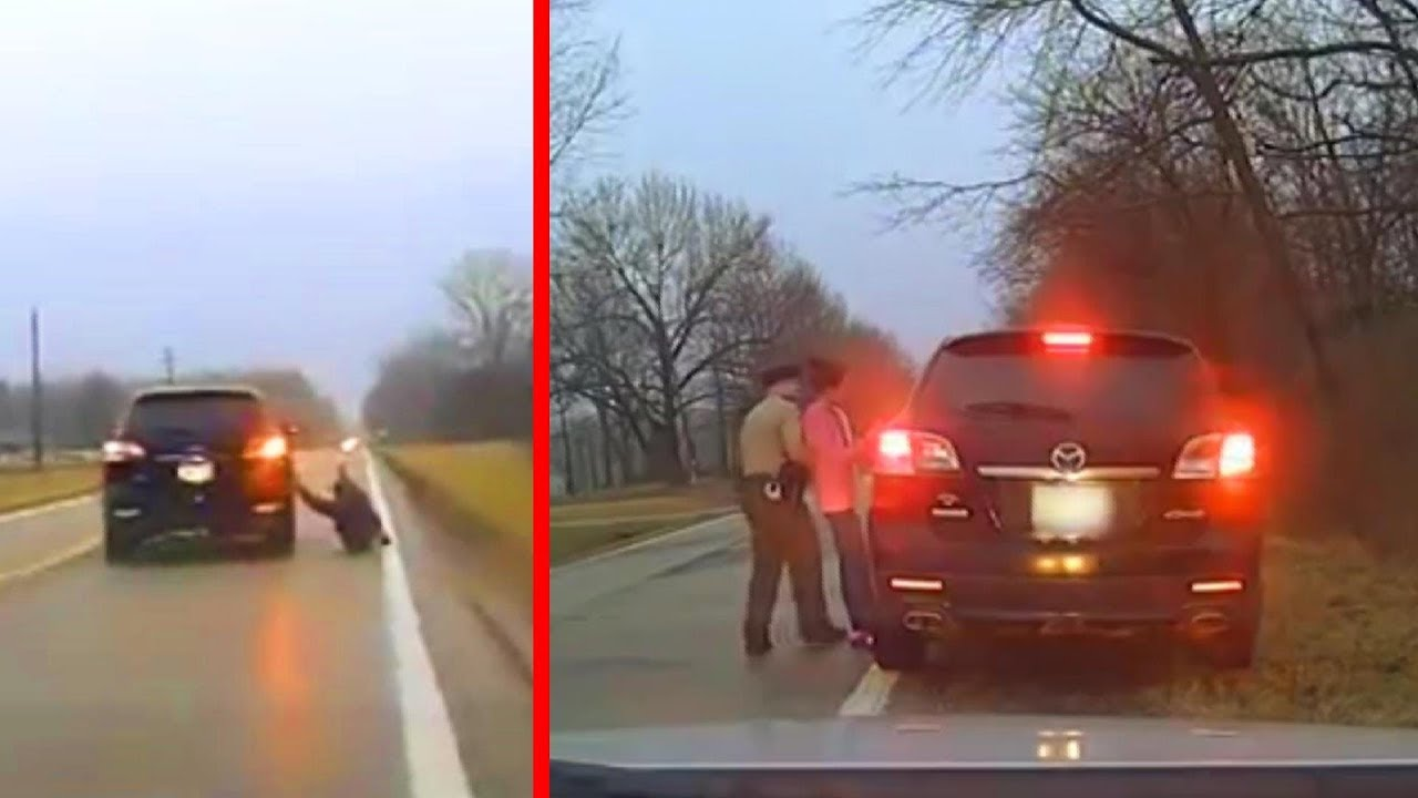 US Marshal Hang on to Vehicle During Police Chase