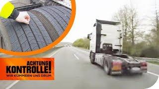 Vorsätzliche Gefährdung! LKW fährt ohne Radadeckung! | Achtung Kontrolle | kabel eins