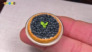DIY Miniature Blueberry Tart (Fake food) ミニチュアブルーベリータルト作り