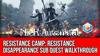 Nier: Automata Resistance Disappearance Sub Quest Walkthrough - Resistance Camp Gameplay/Let's Play