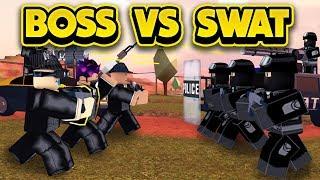 CRAZY BOSS VS SWAT WAR IN JAILBREAK! (ROBLOX Jailbreak)