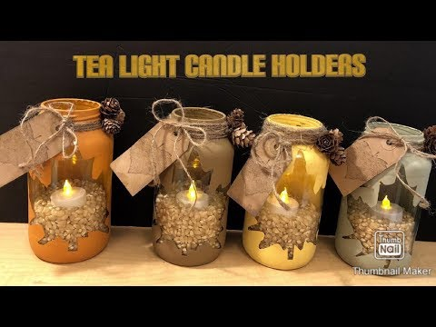 TEA LIGHT CANDLE HOLDERS MASON JAR CRAFT