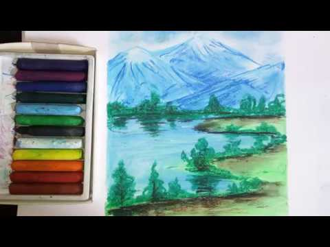 How To Draw Mountains With River Scenery    Oil Pastels Landscape Painting