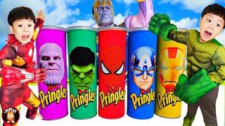 큰일났어요! 프링글스통에 장난감이 나타났어요!! 공룡젤리 우유병젤리 우주캔디 먹고 신나게 춤추자 Pringles, Color jelly bottle, UFOcandy Mukbang