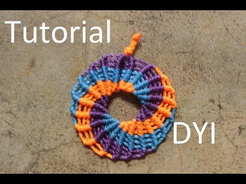 Circle earrings macrame - Tutorial - YouTube