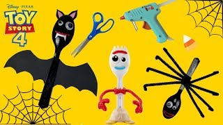 How To Make Halloween Forky Toy Story 4 Easy Tutorial! DIY Halloween Craft Forky Spider And Bat