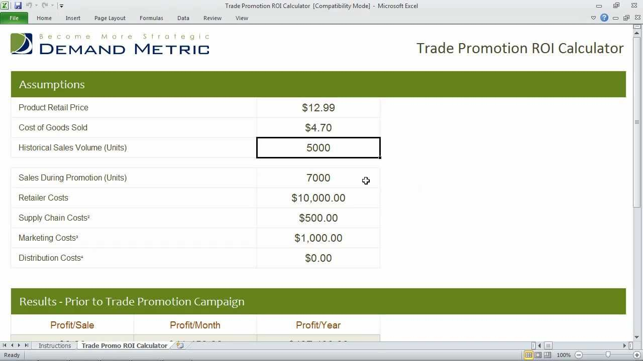 Trade Promotion Roi Calculator Youtube